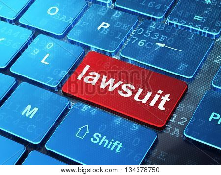 Law concept: computer keyboard with word Lawsuit on enter button background, 3D rendering