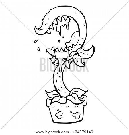freehand drawn black and white cartoon carnivorous plant
