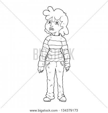 freehand drawn black and white cartoon teenager