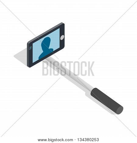 Selfie monopod stick icon in isometric 3d style on a white background