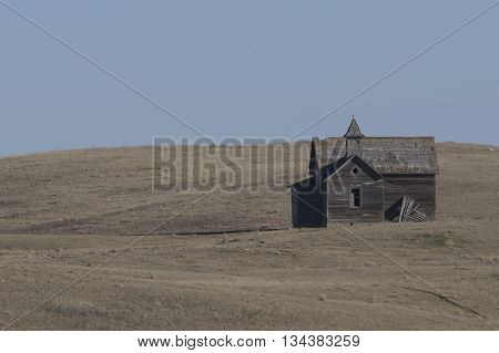 An old abandoned church on the North Dakota Prairie