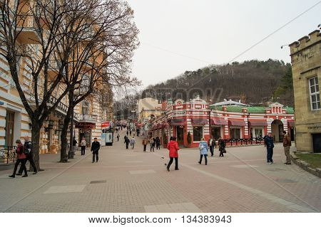 Kislovodsk, Russia - 28 February, People in the city, 28 February, 2016. Resort zone Mineral Waters, Krasnodar region.