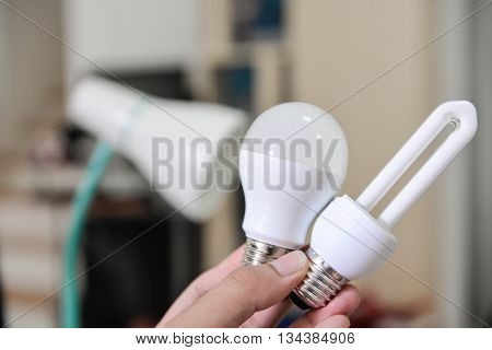 LED Bulb - Selection the bulb to use with lamp changing the bulb to LED bulb to install in lamp for saving the energy concept for how to select the bulb