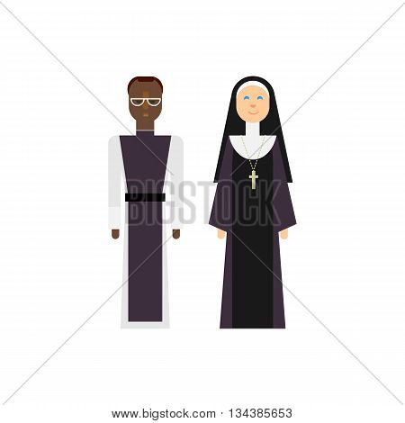 Protestantism religious men and women. Vector christian priests. Flat design characters.