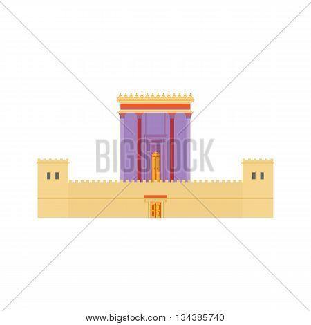 Jerusalem Herods Temple. Flat design illustration. Religious architecture symbol