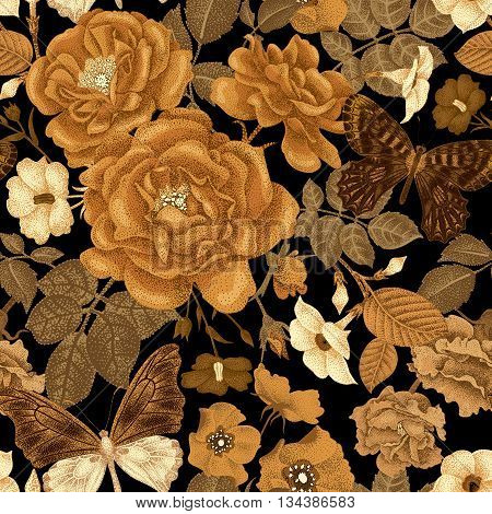 Seamless vector pattern with roses peonies bindweed wild rose butterfly. Design of flowers leaves insects vintage style. Illustration of floral decoration gold on a black background.