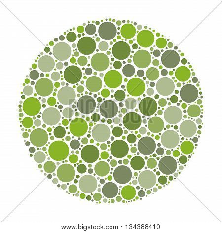 Circle made of dots in shades of green. Abstract vector illustration inspired by medical Ishirara test for color-blindness.