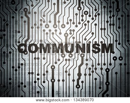Political concept: circuit board with  word Communism, 3D rendering