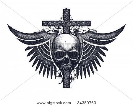 Black and white human skull with cross and wings. Jpeg version.