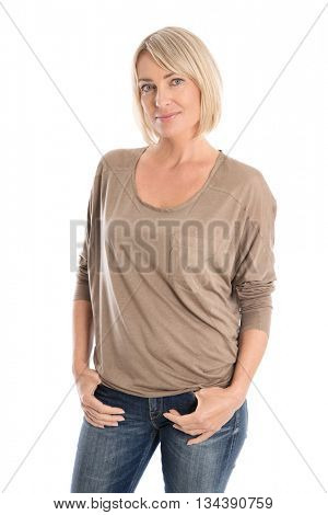 Slim nice smiling older woman isolated over white wearing jeans in portrait.