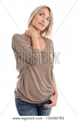 Thoughtful and sad isolated middle aged woman over white background in portrait.