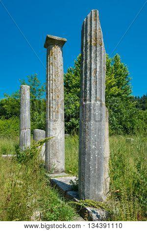Pillars at an ancient Greek Ruins site.