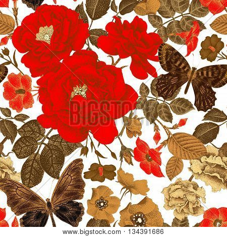 Seamless vector pattern with roses peonies bindweed wild rose butterfly. Design of flowers leaves insects vintage style. Illustration of floral decoration gold on a white background.