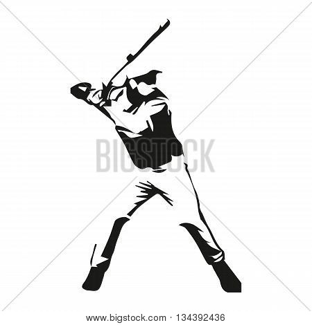 Baseball player vector isolated illustration, baseball batter