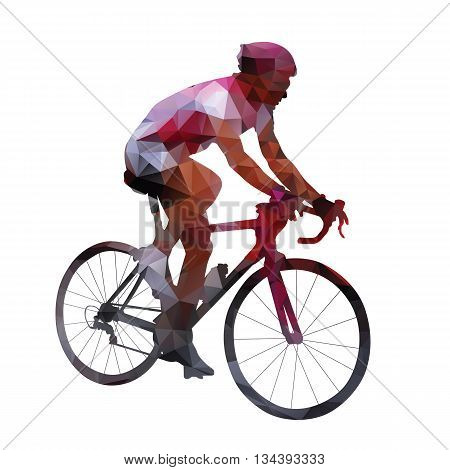 Cycling. Abstract geometrical vector road cyclist on his bike. Polygonal cyclist