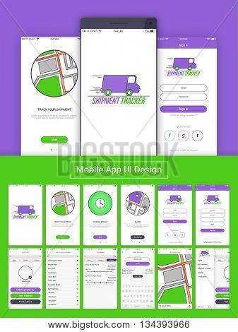 Shipment Tracker Mobile App Material Design, UI, UX and GUI layout including Home, Sign In, Tracking Process Screens, Sign Up, Dashboard, Shipping Service, Track Shipment and Sign Out Features.