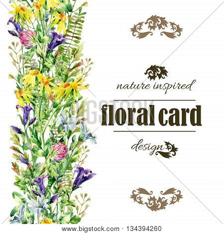 Meadow wildflowers background. Watercolor wild flowers vertical card. Bell flower clover daisy weeds and meadow herbs. Watercolor wild field path. Hand painted floral illustration