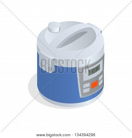 Multi cooker, crock-pot, multivarka isolated on the white. Flat 3d vector isometric illustration.