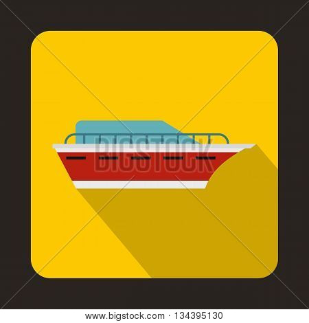 Powerboat icon in flat style with long shadow. Sea transport symbol