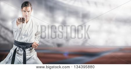 Portrait of fighter performing karate stance against composite image of american stadium