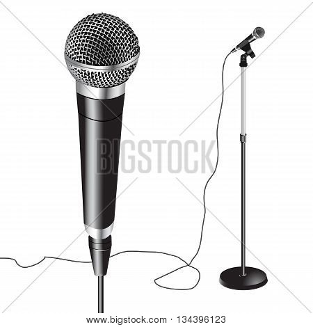 Microphone and Stand, vector illustration isolated on white