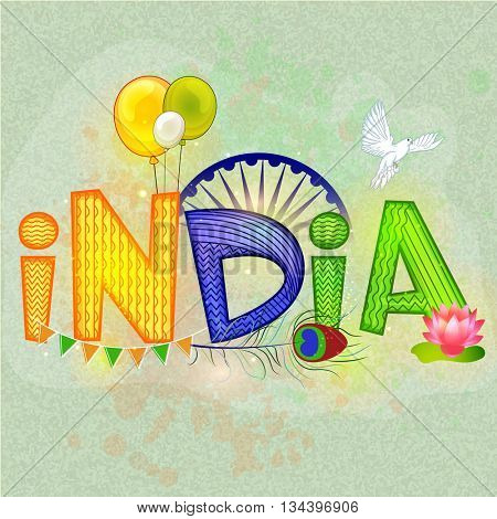 National Tricolor Text India with Flying Balloons, Lotus Flower, Pigeon, Ashoka Wheel and Peacock Feather, Poster, Banner or Flyer for Indian Independence Day and Republic Day celebration.
