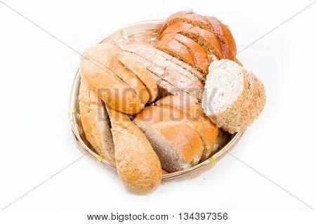Bread In A Wicker Breadbasket On White Background
