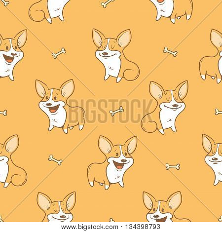 Seamless pattern with cute cartoon dogs breed Welsh Corgi Pembroke on  orange background. Little puppies and bones. Children's illustration. Vector image. Funny animals.