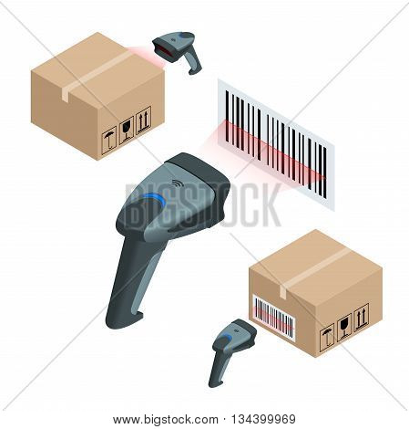 The manual scanner of bar codes. Flat 3d vector isometric illustration
