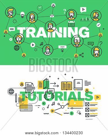 Set of modern vector illustration concepts of words training and tutorials. Thin line flat design banners for website and mobile website, easy to use and highly customizable.