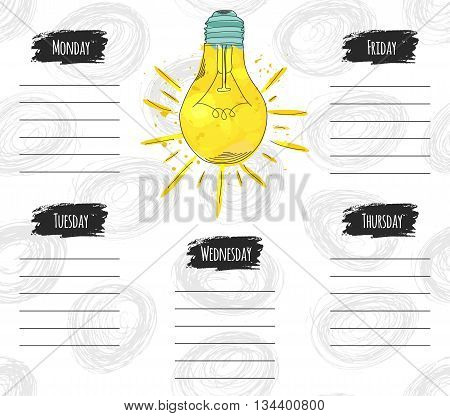 Vector illustration of colorful design schedule for the week. It can be used as a poster greeting card invitation printed materials. Vector illustration