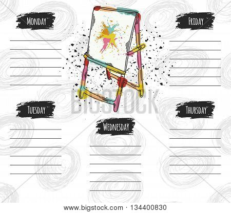 Vector illustration of a school timetable. It can be used as a poster greeting card invitation printed materials. Vector illustration
