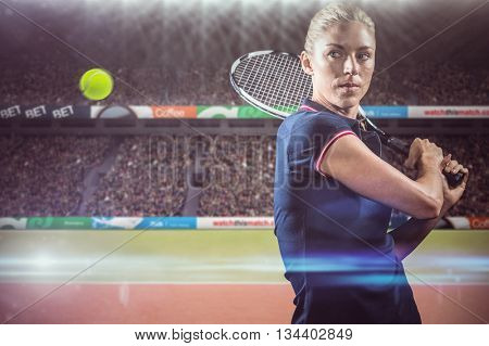 Tennis player playing tennis with a racket against composite image of tennis ground with supporters
