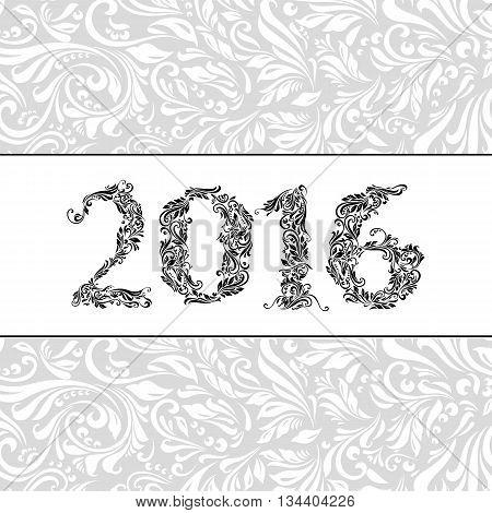 Elegant white banner for year Twenty-Sixteen over ornate floral pattern background