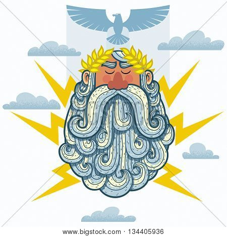 Cartoon Illustration of the Greek God Zeus.
