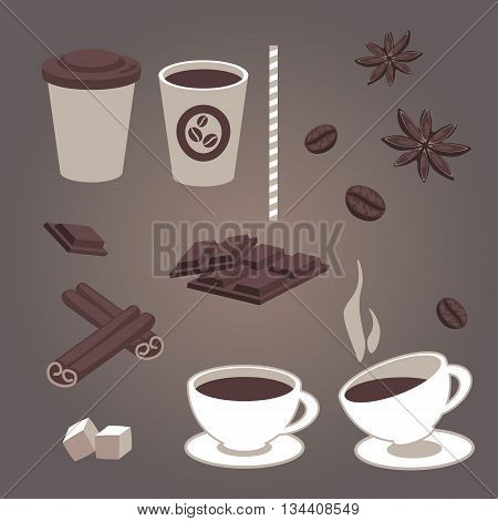 Vector set of isolated coffee items coffee cups pieces of chocolate star anise coffee beans cinnamon hot and cold drinks. Retro design for cafe or restaurant menu. Coffee to go