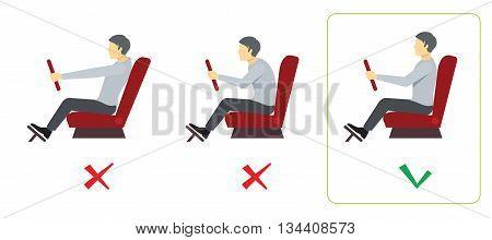 Correct spine posture for driver. Spine driver incorrect, right spine driver, position good spine driver. Vector illustration infographics