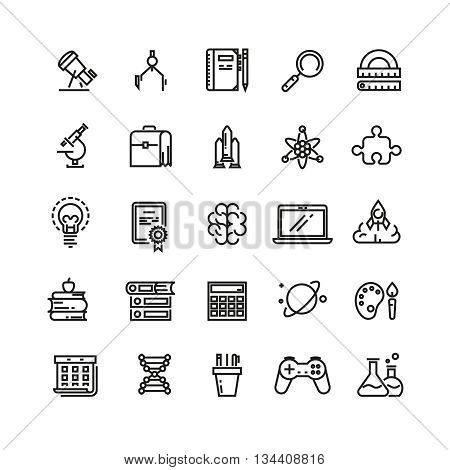 Science and education linear vector icons. Science education, school education icon, study science, learning education icon illustration