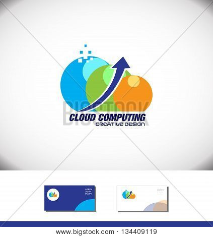 Vector company logo icon element template cloud file hosting storage data transfer upload