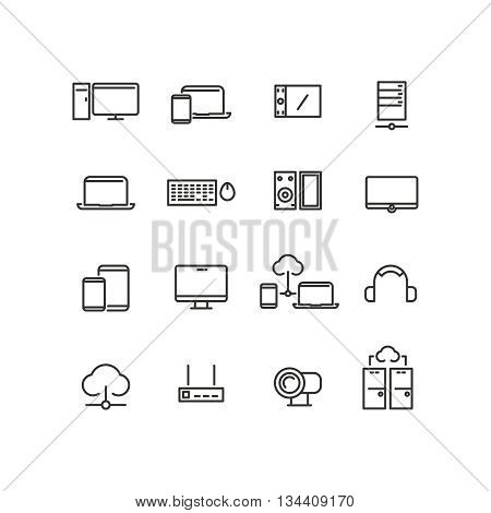 Computers and devices line icons set. Computer device,  computer icon, communication computer device, technology electronic icon, vector illustration