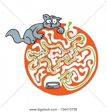 Maze puzzle for kids with cat and milk. Labyrinth illustration, solution included.