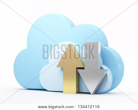 Cloud computing technology, uploading and downloading. 3d rendered illustration.