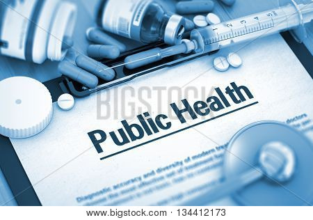 Public Health, Medical Concept. Composition of Medicaments. Public Health with Blurred Text. 3D.