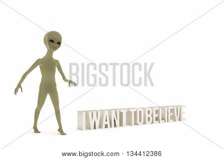 3d illustration of a gray alien isolated on white background