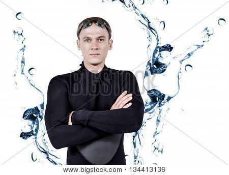 Portrait of swimmer in wetsuit against water bubbling on white surface