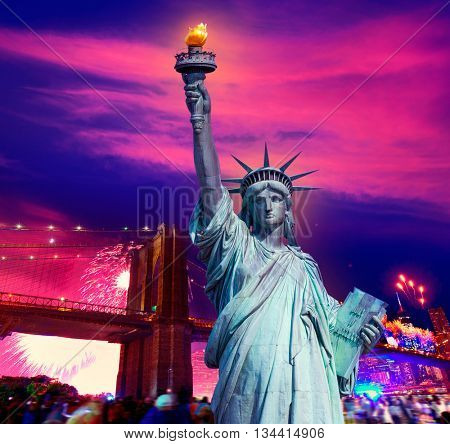 Liberty Statue and Brooklyn bridge on july 4 th fireworks New York America photomount