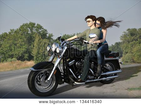 3d illustration of young couple traveling by motorcycle along countryside road