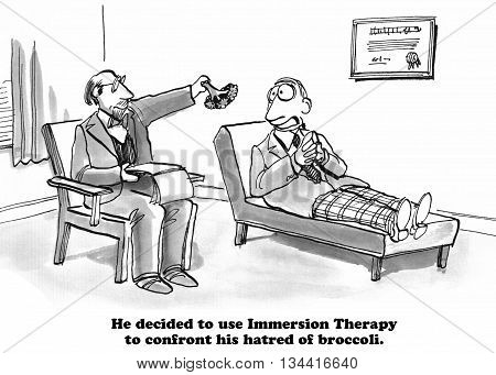 Mental health cartoon about broccoli immersion therapy.