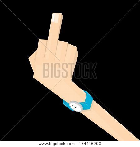simple man hand with middle finger. concept of pointer, nonverbal, fuck you, brutal