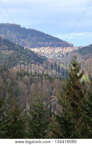 Outlook To The Town Of Bernbach, Black Forest, Baden-wurttemberg, Germany. Below Falkenstein, A Rock